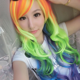 Rainbow Wavy Multi Color Long Curly Cosplay Wig Oblique Bang Heat Resistant Hair Extensions - intl