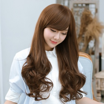 Harga Youqi wig female long curly hair round face pear head hair big waveoblique bangs Korean wig Sets