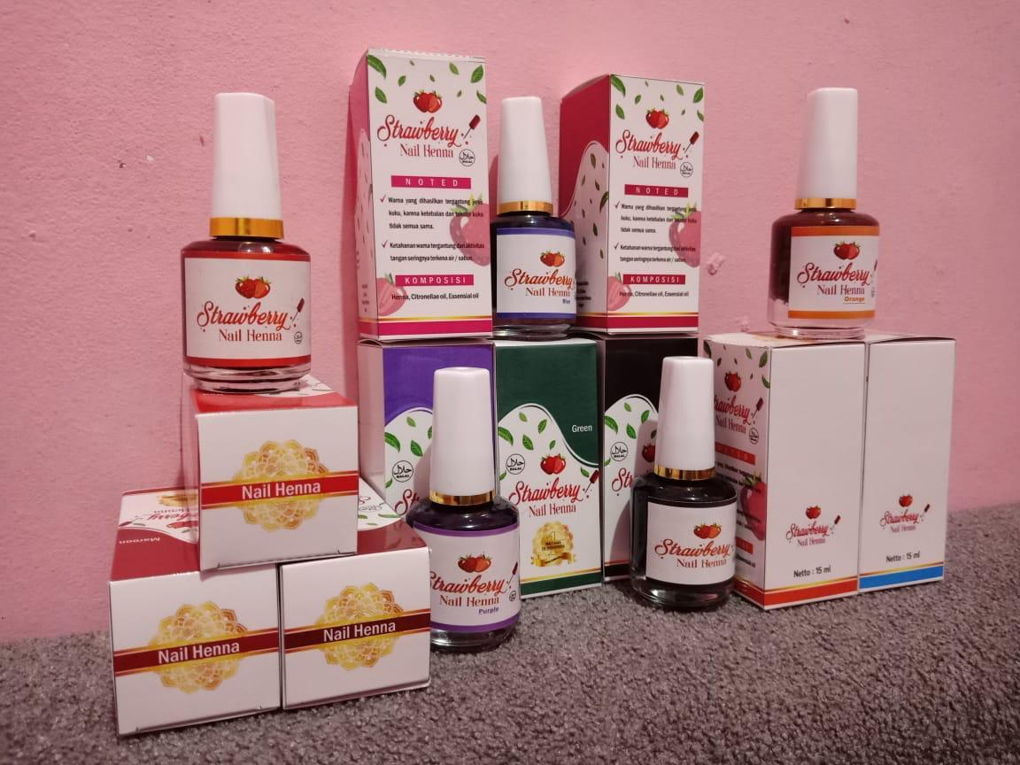 Jual Strawberry Nail Henna Hitam: Strawberry Nail Henna All Color Semua Warna Kutek Halal