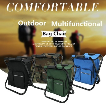 2PCS 3 In 1 Outdoor Portable Multifunctional Foldable Cooler Bag Chair Backpack Fishing Stool Chair - intl