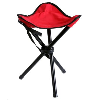 Harga Portable Foldable Three-legged Stool for Camping Fishing Hiking(Red) - intl