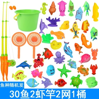 Harga Children fishing toys fishing rod magnetic double-sided three-dimensional fish suit wholesale large fishing rod for men and women baby educational