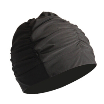 Harga Fashion solid color cloth pleated swimming cap