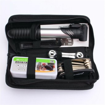 Harga 16 in 1 Cycling Bike Cycle Bicycle Tool Kit with Pump Tyre Puncture Repair Set (EXPORT)