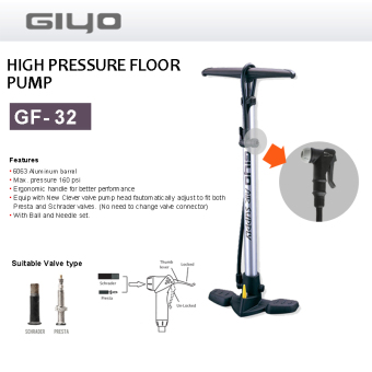 Harga Giyo GF32 Aluminium Bicycle Floor pump. Made in Taiwan. Tire Pump. Air Pump. Wheel Pump. For presta Schrader valves. Bicycle / Bike accessories. For Mountain Bike Road Bike. 160 psi.
