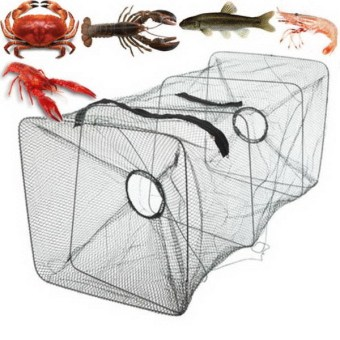 Fishing Bait Trap Dip Cast Net Cage Crab Minnow Crawdad Shrimp Foldable-