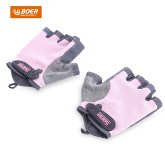 Harga BOER Paired Fitness Sport Gym Exercise Weightlifting Women Half Finger Gloves (SIZE:M) (Pink) - intl