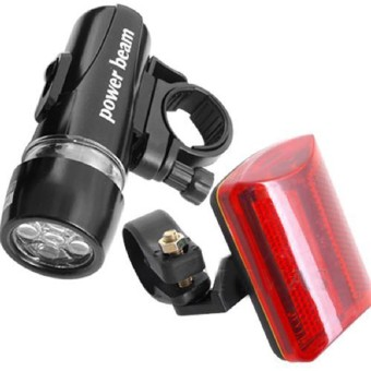 Harga Bicycle Bike 5 LED White Headlight Red Rear Tail Safety Lights Lamp + Holder (Intl)
