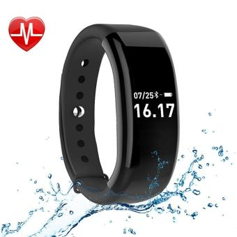 Harga JUSHENG Fitness Activity Tracker Watch, Bluetooth 4.0 Wireless Waterproof Smart Band with Sleep Heart Rate Monitor Pedometer Sport Bracelet for Android and ios, Black - intl