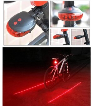 5 LED Rear Bike Bicycle Tail Light Beam Safety Warning Red Lamp-Multicolor - intl