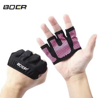 Harga BOER Paired Body Building Fitness Weightlifting Four Fingers Palm Gloves - intl