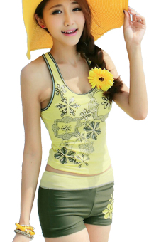 Sunweb Women Beach Tank Tops + Sport Shorts Swimwear Swimsuit Set (Yellow)