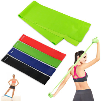 Harga Exercise Resistance Bands - 4 Resistance Loop bands & Long Fitness Stretch Band Yoga Straps Home Gym Workout For Legs Arms Pull Up Strength Training, Physical Therapy Theraband, Pilates w bag