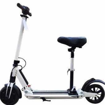 Electric Scooter E-Lite with Suspension Seat / Scooter /Electric Skate Scooter / Lightweight and Foldable Scooter (White)