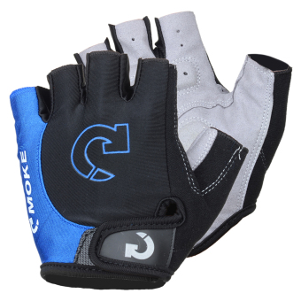 Harga MOke Outdoor Cycling Riding Bike Motorcycle Anti-Slip Half-Finger Gloves - Black + Blue (L / Pair) - intl
