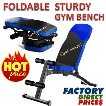 Harga FOLDABLE Workout Bench Gym Bench! Strong and Sturdy! (Blue)