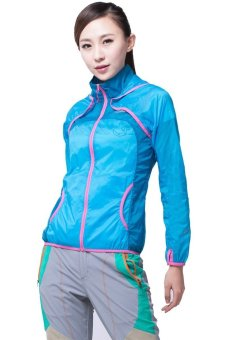 Makino Women's Outdoor Waterproof Light Weight UV-Proof Jacket Thin Windbreaker Skin Hooded Jacket 3128-2 Sky Blue/Deep Blue