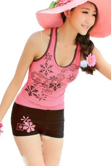 Sunweb Women Beach Tank Tops + Sport Shorts Swimwear Swimsuit Set ( Pink ) - intl