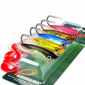 5pcs Assorted Fishing Lures Bass Baits Jointed Minnow Shrimp Popper Crank Baits - intl