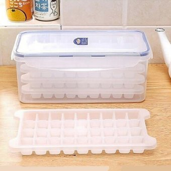 Harga Ice lattice grid with crisper food supplement baby food supplement grid ice mold ice box to send a small ice scoop food grade