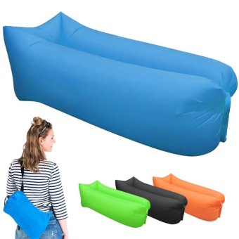 Harga Saomai Fast Inflatable Camping Sofa banana Sleeping Bag Hangout Nylon lazy lay laybag Air Bed chair Couch Lounger - intl