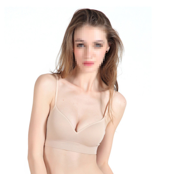 Harga OEM 2pc Women's Underwear No vestige Nursing Bra Cotton (Apricot)
