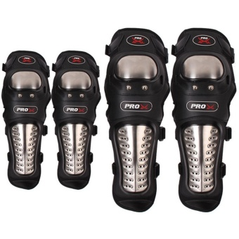 4Pcs Adults Stainless Steel Motorcycle Elbow Knee Shin Guard Pads Protector Cushion for Safe Riding - intl