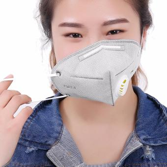 Harga Pack of 3 Adult Face Mouth PM 2.5 Protection Gauze Mask Activated Carbon Breathing Valve Mask Reusable Respirator Anti Dust Fog Haze Virus Flu Plain Cotton 3D Shape With Adjustable Earloop, Grey - intl