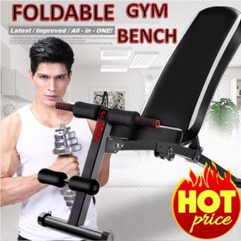 Harga Foldable Workout Bench Gym Bench. Strong and Sturdy! (Black)