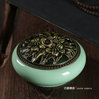 Longquan Celadon large incense burner mosquito Box Plate incenseburner ceramic Room Fire Safety mosquito furnace sandalwoodmosquito repellent - intl