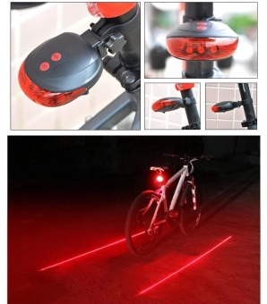 Lunar Valley 5 LED Rear Bike Bicycle Tail Light Beam Safety Warning Red Lamp-Red Line - intl