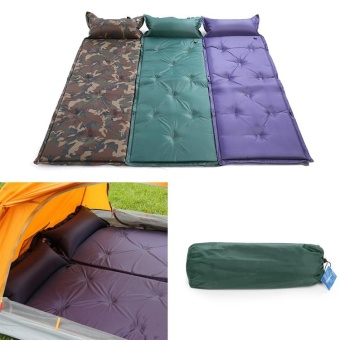 New Self Inflating Camping Mattress Inflatable Sleeping Pad Camping Air Mattress with Pillow Portable Folding Beach Mat - intl