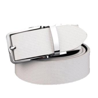 2017 Fashion Buckle Buckle Genuine Leather Men's Luxury Belts For Men Brand Luxury Fashion Leather Belt 105CM(White) - intl