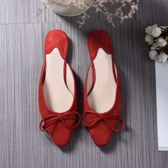 2017 Fashion Women's Suede Ballet Flat Shoes Bowknot PointedSlippers