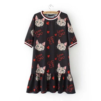 New style cat Print Slimming effect Korean-style short-sleeved dress