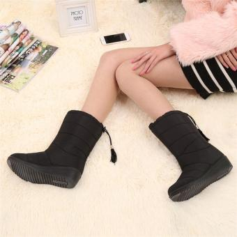 2017 New Arrival Winter Women Snow Boots Fashion Medium Tube Slope with Warm Plus Velvet Boots Waterproof Anti-slip with Tassels 35 (black) - intl