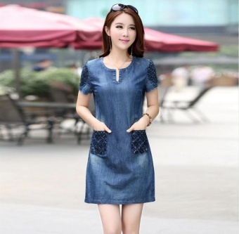 2017 New Summer Denim Dress Women Loose Fashion Jeans Lady Slim Short Sleeve Plus Size dresses S-5XL - intl