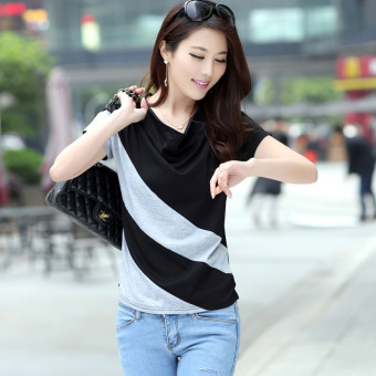 Loose Korean-style female New style Short sleeve Top T-shirt (Black + gray)