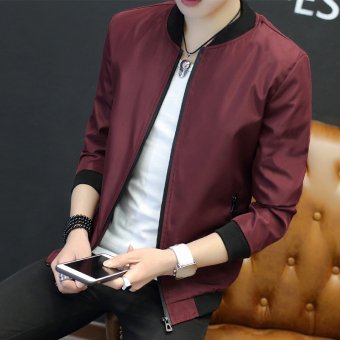 Korean-style male student's baseball Slim fit jacket (Red wine)