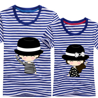 Couple Korean-style Top Hat Short Sleeve T-Shirt (Striped shirt) (Striped shirt)
