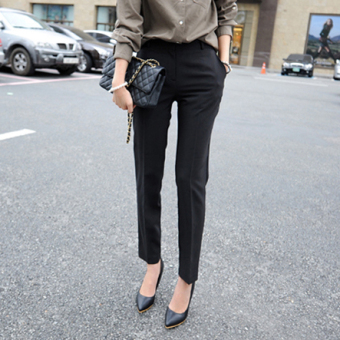 2017 spring and summer ol work pants 9 points trousers waist was thin female feet pants casual pants career pants suit (Black (nine points))