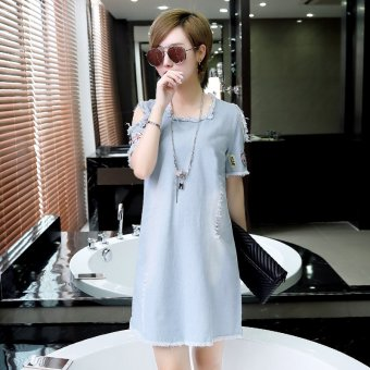 Female Long section New style tide denim patch short-sleeved off-the-shoulder dress