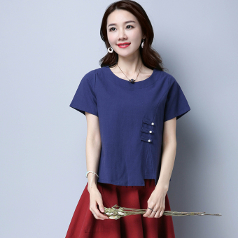 National Style cotton linen solid color New style T-shirt shirt Chinese Top (Navy blue) (Navy blue)