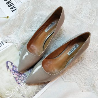 5cm pointed New style ol Korean-style patent leather cat with shoes(Gray)