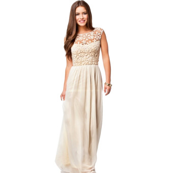 Acecharming Women Formal Long Lace Chiffon Backless Summer Evening Party Bridesmaid Dance Wedding Maxi Dress (Beige)