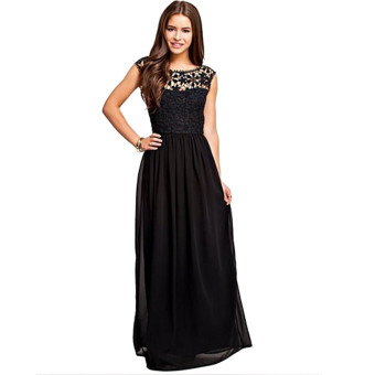 Acecharming Women Formal Long Lace Chiffon Backless Summer Evening Party Bridesmaid Dance Wedding Maxi Dress (Black)