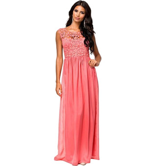 Acecharming Women Formal Long Lace Chiffon Backless Summer Evening Party Bridesmaid Dance Wedding Maxi Dress (Red)