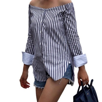 Amart Fashion Autumn Women Off Shoulder Long Sleeve Vertical Stripe Shirt Vintage Loose Casual Blouse - intl