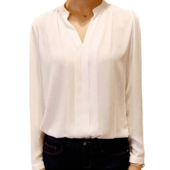 Amart Fashion Summer Autumn Women Chiffon Long Sleeve V Neck Blouse Loose Casual Tops(white) - intl