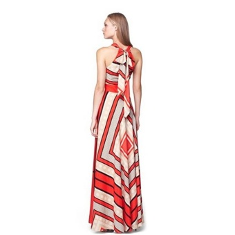 Amart Fashion Women Summer Boho Long Maxi Dress Evening Party Long Beach Dresses Halter Sundress - intl